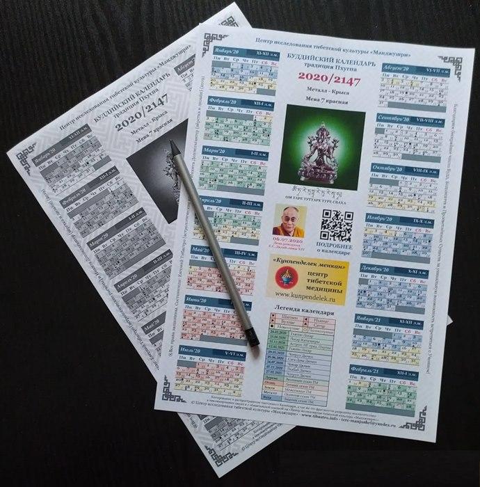 Новый буддийский календарь традиции Пхугпа на 2020 год
